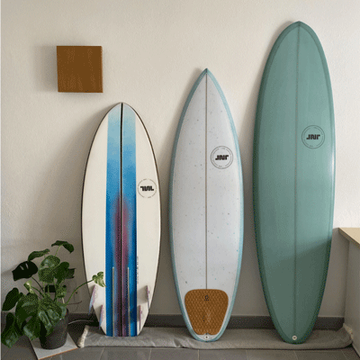 3 finished surfboards ready for the photo shoot